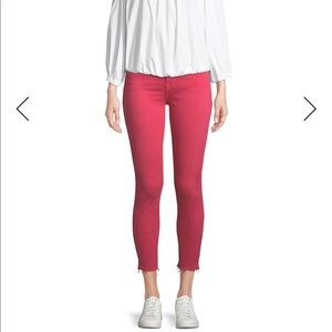 7FAM Red The Ankle Skinny Jeans Released Raw Hem
